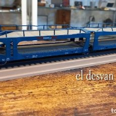 Trenes Escala: ELECTROTREN HO. DOBLE VAGÓN TRANSPORTE COCHES TRANSFESA SOBRE VIA EXPOSITORA. VER FOTOS. Lote 278369678