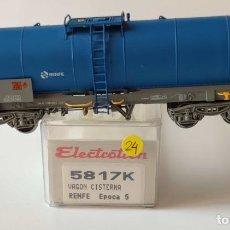 Trenes Escala: ELECTROTREN VAGON CISTERNA RENFE REF: 5817 ESCALA H0 CON LUCES DE POSICION. Lote 278534803
