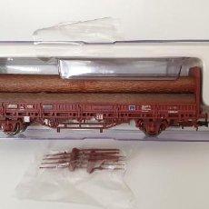 """Trenes Escala: ELECTROTREN VAGÓN KBS """"TRANSFESA"""" CON CARGA DE 5 TRONCOS H0. REF.1571K. NUEVO A ESTRENAR.. Lote 278820043"""