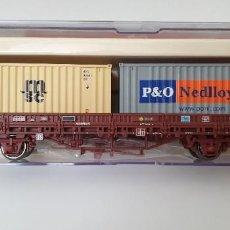 Trenes Escala: ELECTROTREN VAGÓN TELEROS RENFE TIPO KS CON 2 CONTENEDORES H0. REF.1446K. NUEVO A ESTRENAR.. Lote 278821218