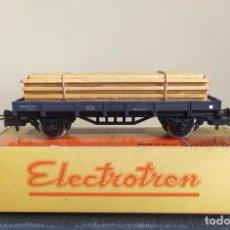Trenes Escala: ELECTROTREN H0 VAGÓN PLATAFORMA RENFE CARGADO CON TABLONES DE MADERA, REFERENCIA 1000/8.. Lote 287650563