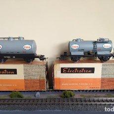 Trenes Escala: ELECTROTREN H0 PAREJA DE VAGONES CISTERNA, DE ESSO, REFERENCIAS 1106/4 Y 1107/4.. Lote 287652103