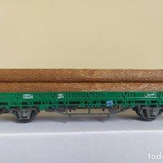 Trenes Escala: ELECTROTREN (ALTAYA) H0 VAGÓN PLATAFORMA DE EJES CARGADO CON TRONCOS, DE RENFE, S/R.. Lote 287655168