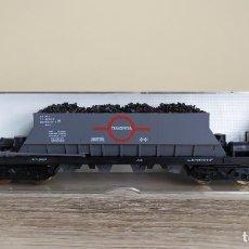 Trenes Escala: ELECTROTREN H0 VAGÓN TOLVA DE BOGÍES CARGADO CON CARBÓN, DE TRANSFESA, REFERENCIA 5200.. Lote 287900263