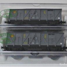 Trains Échelle: ELECTROTREN - PAREJA DE VAGONES DE MERCANCÍAS BAZAR MATEY (SIN REFERENCIA). Lote 289510438