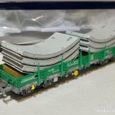 Trenes Escala: ELECTROTREN E6542 VAGÓN PLATAFORMA RENFE RMMNS VERDE. Lote 295524538