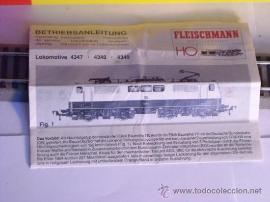 Trenes Escala: locomotora electrica escala 1/87 h0 Fleischmann 4347 BR 111 036-0 de la DB caja documentacion - Foto 20 - 32739338