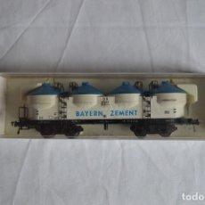 Trenes Escala: FLEISCHMANN. VAGÓN CONTENEDOR-SILO DE LA DB PARA BAYERN ZEMENT. H0. REF. 5480. ROMANJUGUETESYMAS.. Lote 69537273