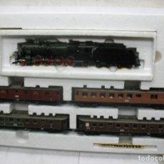 Trenes Escala: FLEISCHMANN REF: 1885 - SET CON LOCOMOTORA DE VAPOR Y 4 VAGONES CORRIENTE ALTERNA - ESCALA H0. Lote 94252500