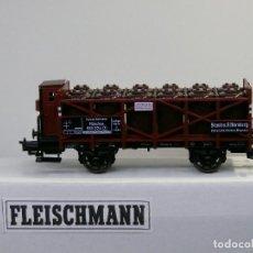 Trenes Escala: FLEISCHMANN H0 VAGÓN CON GARITA PARA TRANSPORTE DE BOTELLAS DE ACIDO, AFECTO A LA DR, REFª 5221 K.. Lote 115138655