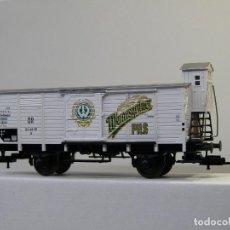 Trenes Escala: FLEISCHMANN H0 VAGÓN FRIGORIFICO CON GARITA, DE CERVEZAS WERNESGRÜNER, DR, REFERENCIA 5358 K.. Lote 115140183