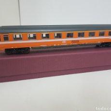 Trenes Escala: FLEISCHMANN ESCALA H0 VAGON DE BÉLGICA NARANJA CON FRANJA BLANCA 1970 609 3. Lote 133814795