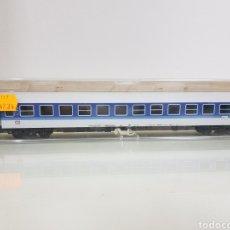 Trenes Escala: VAGÓN DE PASAJEROS FLEISCHMANN 5177 ESCALA H0 CORRIENTE CONTINUA DE 29 CM AZUL Y BLANCO. Lote 144825744