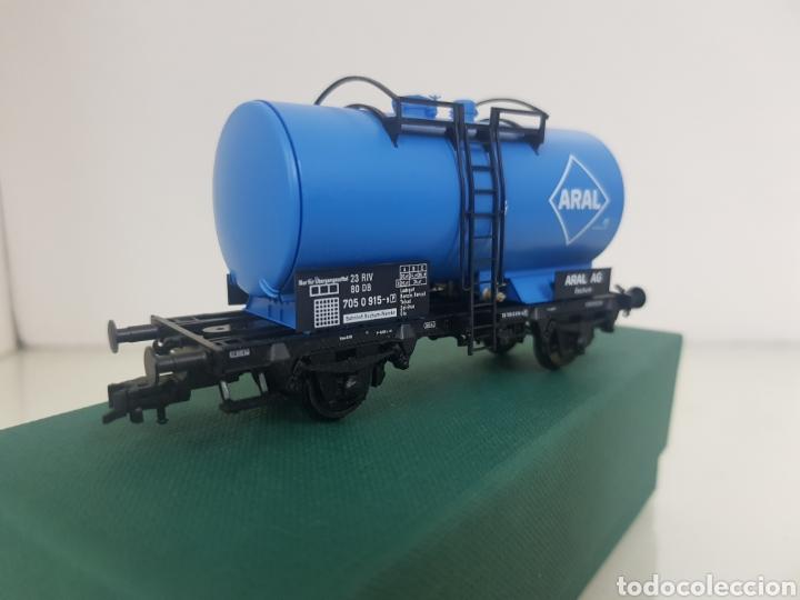 Trenes Escala: Vagon Fleischmann Aral cisterna azul escala H0 corriente continua 11 cm - Foto 3 - 149035133