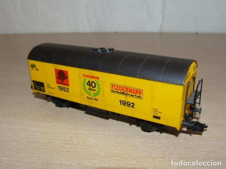 Trenes Escala: alfreedom FLEISCHMANN Lote 3 Vagones Mercancías uno de ellos Aniversario 40 años 1952-1992 Escala H0 - Foto 3 - 149397166
