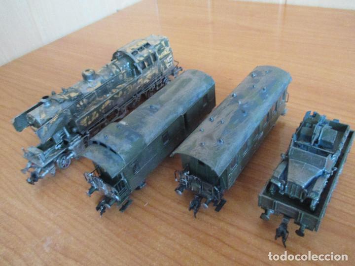 Trenes Escala: FLEISCHMANN H0: TREN MILITAR CUSTOMIZADO COMPUESTO POR LOCOMOTORA Y 3 VAGONES - Foto 3 - 158429866