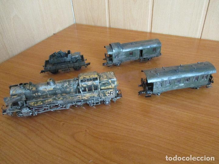 Trenes Escala: FLEISCHMANN H0: TREN MILITAR CUSTOMIZADO COMPUESTO POR LOCOMOTORA Y 3 VAGONES - Foto 4 - 158429866