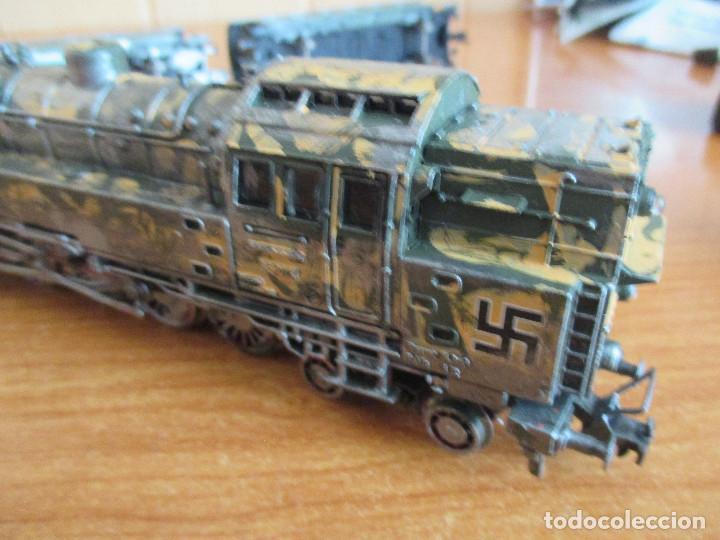 Trenes Escala: FLEISCHMANN H0: TREN MILITAR CUSTOMIZADO COMPUESTO POR LOCOMOTORA Y 3 VAGONES - Foto 5 - 158429866