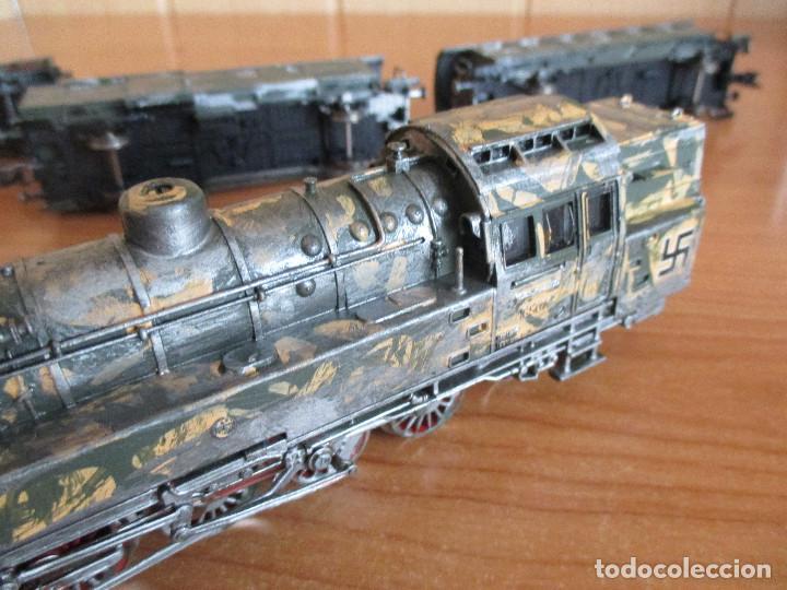 Trenes Escala: FLEISCHMANN H0: TREN MILITAR CUSTOMIZADO COMPUESTO POR LOCOMOTORA Y 3 VAGONES - Foto 6 - 158429866