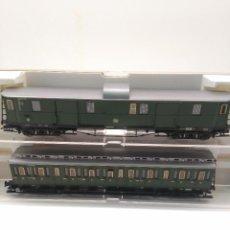 Trenes Escala: FLEISCHMANN 2 VAGONES 5684 K Y 5689 K PASAJEROS 2ª Y EQUIPAJE DB. Lote 170410672