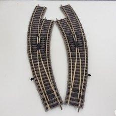 Trenes Escala: FLEISCHMANN MADE IN GERMANY LOTE DE 2 VÍAS CURVAS MECÁNICAS ESCALA H0 DE 28 CM. Lote 183166781