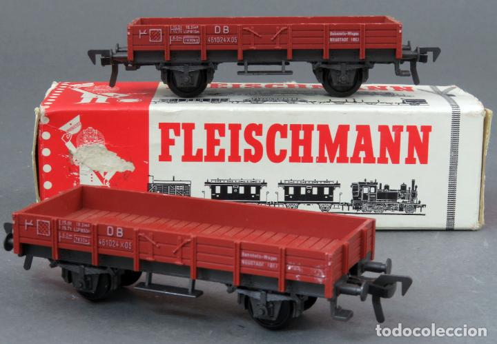 2 VAGÓN BORDE BAJO FLEISCHMANN TREN H0 CON CAJA REF 5011 (Juguetes - Trenes Escala H0 - Fleischmann H0)