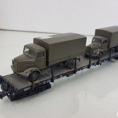 Trenes Escala: VAGÓN LARGO FLEISCHMANN PLATAFORMA MILITAR ESCALA H0 23 CM. Lote 193822321
