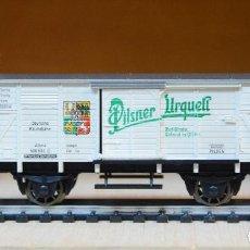 Trenes Escala: FLEISCHMANN H0 VAGÓN FRIGORIFICO CON GARITA DE CERVEZAS *PILSNER URQUELL, DE LA DR, REFERENCIA 5357.. Lote 195027703