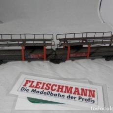 Trenes Escala: VAGÓN PORTACOCHES ESCALA HO DE FLEISCHMANN . Lote 198209345