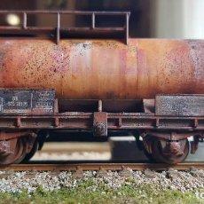Trenes Escala: CISTERNA UNICA H0 FLEISCHMANN HO ENVEJECIDA SHELL. Lote 219226313