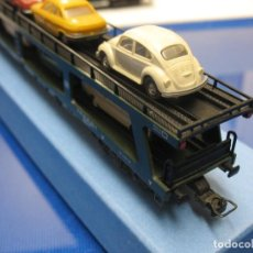 Trenes Escala: VAGON CON CARGA DE COCHES FLEISCHMANN MADE IN GERMANY. Lote 220431218