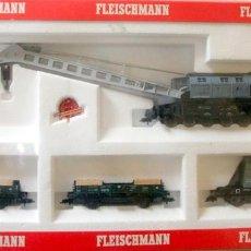 Comboios Escala: FLEISCHMANN 5597 – GRUA + 3 VAGONES ACCESORIOS – HO CAJA ORIGINAL. Lote 231091500