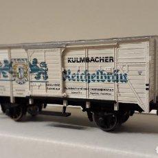 Trenes Escala: FLEISCHMANN H0 VAGÓN FRIGORÍFICO DE CERVEZAS KULMBACHER , PARQUE DE LA DRG, REFERENCIA 5362.. Lote 236310665