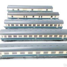Trenes Escala: JIFFY VENDE 5 VAGONES FLEISCHMANN H0. PASAJEROS, CORREOS Y FURGÓN DE COLA.. Lote 241266970