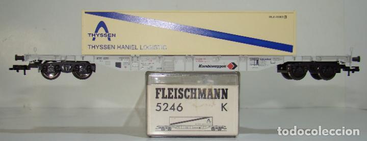 FLEISCHMANN VAGON PLATAFORMA CON CONTENEDOR THYSSEN REF: 5246 ESCALA H0 (Juguetes - Trenes Escala H0 - Fleischmann H0)
