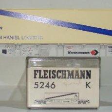 Trenes Escala: FLEISCHMANN VAGON PLATAFORMA CON CONTENEDOR THYSSEN REF: 5246 ESCALA H0. Lote 245961000