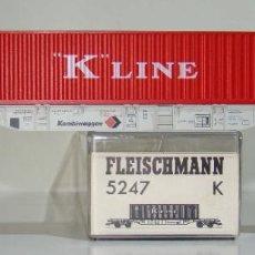 Trenes Escala: FLEISCHMANN VAGON PLATAFORMA CON CONTENEDOR KLINE REF: 5247 ESCALA H0. Lote 245961120