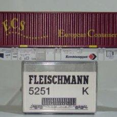 Trenes Escala: FLEISCHMANN VAGON PLATAFORMA CON CONTENEDOR ECS REF: 5251 ESCALA H0. Lote 245961390