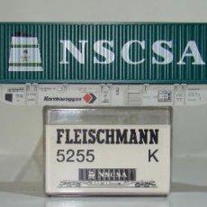 Trenes Escala: FLEISCHMANN VAGON PLATAFORMA CON CONTENEDOR NSCSA REF: 5255 ESCALA H0. Lote 245961485