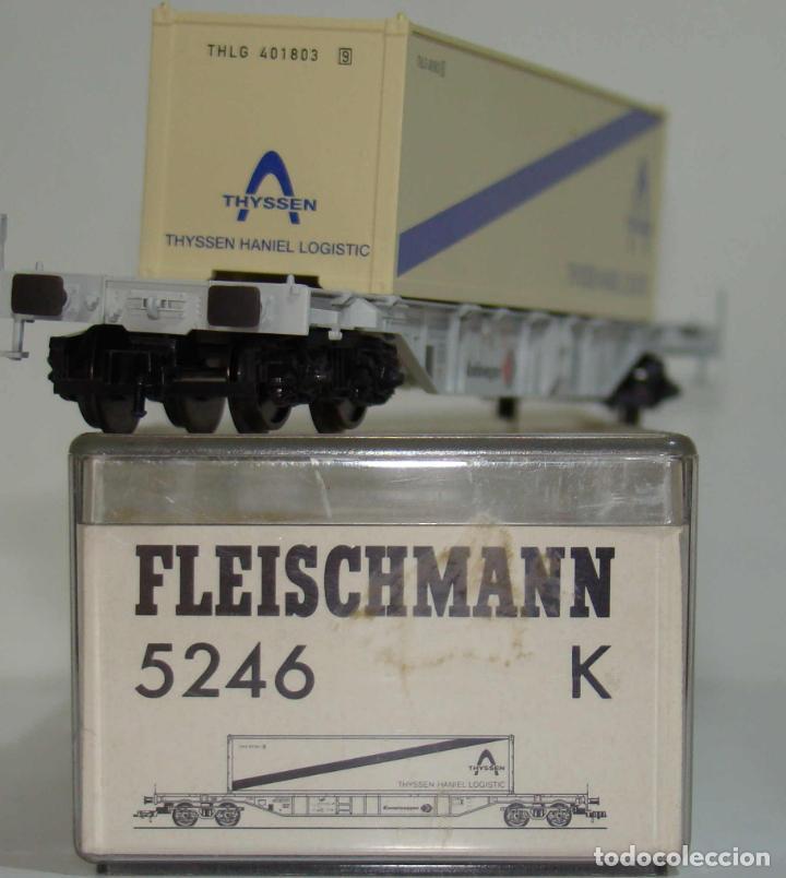 Trenes Escala: FLEISCHMANN VAGON PLATAFORMA CON CONTENEDOR THYSSEN REF: 5246 ESCALA H0 - Foto 2 - 245961000
