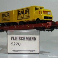 Trenes Escala: FLEISCHMANN VAGON PLATAFORMA PORTA CAMIONES CON CAMION Y REMOLQUE REF: 5270 ESCALA H0. Lote 245961910