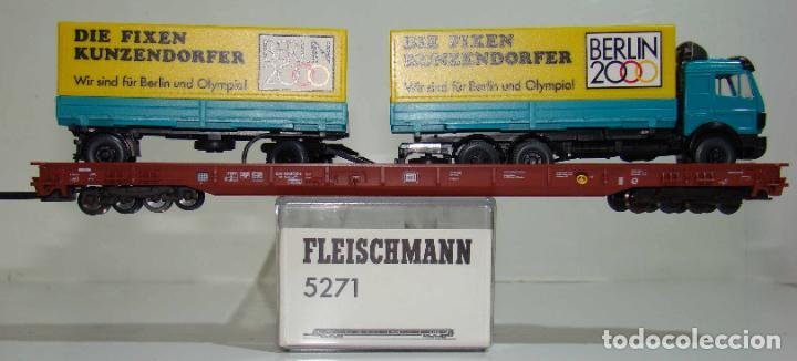 FLEISCHMANN VAGON PLATAFORMA PORTA CAMIONES CON CAMION Y REMOLQUE REF: 5271 ESCALA H0 (Juguetes - Trenes Escala H0 - Fleischmann H0)
