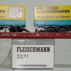 Trenes Escala: FLEISCHMANN VAGON PLATAFORMA PORTA CAMIONES CON CAMION Y REMOLQUE REF: 5271 ESCALA H0. Lote 245962005