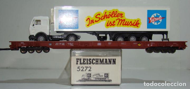 FLEISCHMANN VAGON PLATAFORMA PORTA CAMIONES CON CAMION REF: 5272 ESCALA H0 (Juguetes - Trenes Escala H0 - Fleischmann H0)