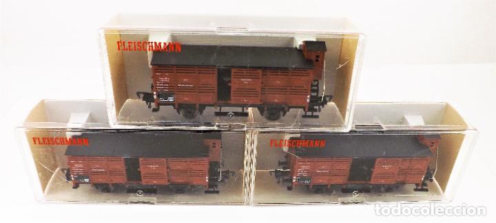 Trenes Escala: Fleischmann 5356+ 5356+5356 conjunto de tres vagones carga cerrados - Foto 2 - 253340145
