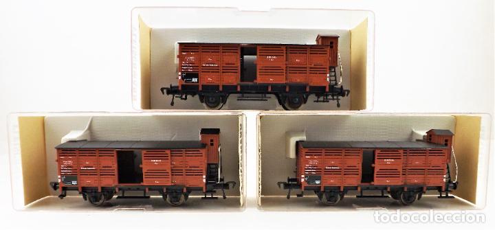 Trenes Escala: Fleischmann 5356+ 5356+5356 conjunto de tres vagones carga cerrados - Foto 3 - 253340145