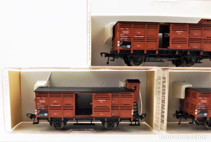 Trenes Escala: Fleischmann 5356+ 5356+5356 conjunto de tres vagones carga cerrados - Foto 4 - 253340145