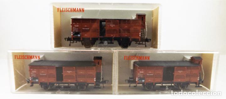 FLEISCHMANN 5356+ 5356+5356 CONJUNTO DE TRES VAGONES CARGA CERRADOS (Juguetes - Trenes Escala H0 - Fleischmann H0)