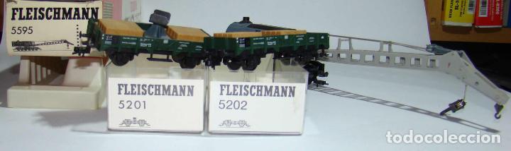 Trenes Escala: FLEISCHMANN GRUA CON VAGONES DE ACOMPAÑAMIENTO ESCALA H0 - Foto 2 - 256035610