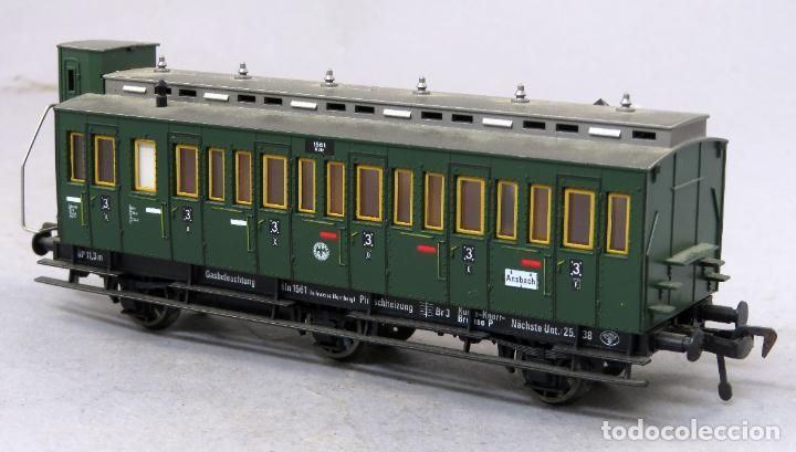 Trenes Escala: Vagón pasajeros ventanas Fleischmann H0 verde Ansbach - Foto 2 - 268402929